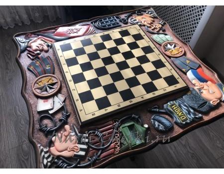 Купить резной шахматный стол «Закон-2»